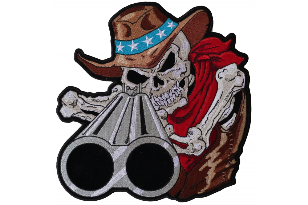 1a9fd680e37 ... Cowboy Hat and Red Scarf. Shotgun Barrel Willy Skull Large Back Patch